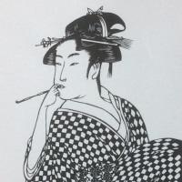 教材用・美人画 修正後2 剪画(切絵)!!
