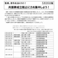 高田健さんから送られた共謀罪成立阻止に向けた総がかり行動実行委員会の今後の予定を添付でお送りします。