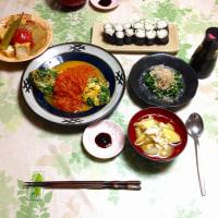 今日ランチ~小菜葱オムレツと芹のお浸し