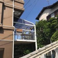 岡山市中区でアルミテラスの屋根材復旧工事