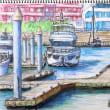 「芦屋マリーナ Ⅱ」F4 水彩色鉛筆