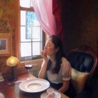 パステル画「魅了する・・・物語る絵画ー彼女の情景ー」~カフェの女性~ご案内