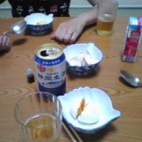 宿で、温泉玉子をつまみにビール