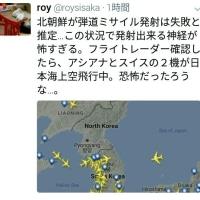 やっぱりヤバイよ:(ˊ◦ω◦ˋ): 4/29 アシアナとスイスの飛行機が韓国、日本海上空飛行中 北朝鮮ミサイル発射