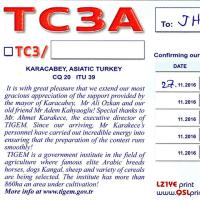 近着QSL(紙) TC3A 80m/CW