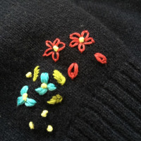 ユニクロのカーディガンに刺繍