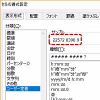 個体識別番号をExcelの表示形式の設定で見せる