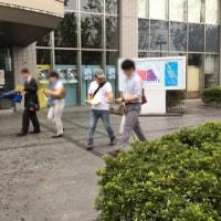高槻市役所前、小中学校への「日の丸」常時掲揚に対する抗議のビラまき!