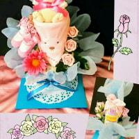 ポムポムウサギのラブリーオムツケーキ