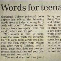 10代の子供達に送る言葉