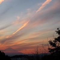 朝夕の富士と夕焼け