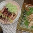 ヤリイカのガーリックバターとポークロールの夕食♪オイシイ!