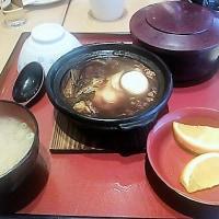 半熟卵と特製デミソースハンバーグ&チキン南蛮とたっぷり温野菜定食に姫ちゃんロス