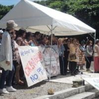 23日・慰霊の日、魂魄の塔で開催された国際反戦沖縄集会に参加。また、県外からの機動隊が沖縄へ!