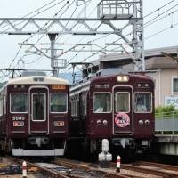 阪急 仁川駅北道踏切(2017.6.24) 7006F、5000F、5102Fの3編成並び