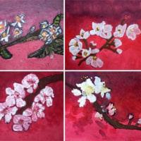 日本画でお花見
