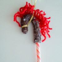 編み物(棒針) クリスマスオーナメント Candy Cane Pony☆