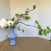 瓶花 傾斜 枝もの 菊 ギボウシ  蓮葉口