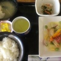 5月23日の日替り定食(550)は、白身魚のソテー、黄金柑のバターソース です。