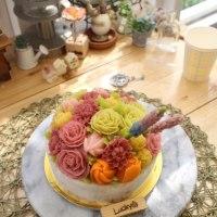フラワーケーキ あんクリーム ベーシック3回目 Eさん作品です。
