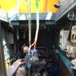 エンジン載せ替え作業が始まっています。ヤンマー6AY-WET(808馬力)