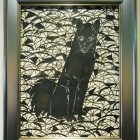 ミュージアム巡り 動物集合 漆透かし絵 犬