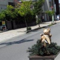 <軽井沢新道>木彫りの動物たち