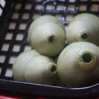収穫した瓢箪に穴あけをしました。