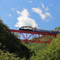 赤い橋梁と青い客車(釜石C58)