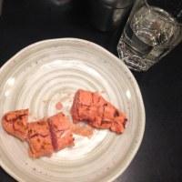 22時過ぎから50分の滞在で、炙り明太子、マグロぶつ 日本酒二合  1510円でした。