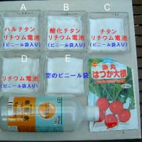 ハルチタンチップとリチウム電池を使ったハツカダイコンの発芽実験