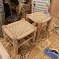 織り編みスツールの座編み教室