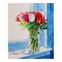 絵画販売・水彩原画 「窓辺の薔薇」