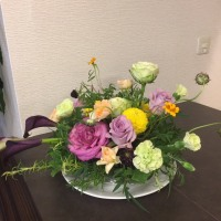 静岡講師会、バラとハーブのアレンジ。