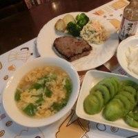 牛ももステーキ&オクラお浸し&中華コーンスープ