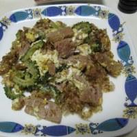 真アジの干物、オカラ、大根っ葉の塩もみ、ゴーヤチャンプルー