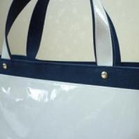 夏バッグ2つ目☆白エナメル合皮のトートバッグ、完成