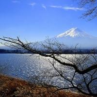 光る湖と富士山