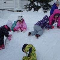 小さいくみさんも雪遊び