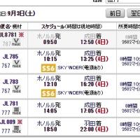 JALのホノルルフライト、同じ日でもタイプがAからDまで異なる。