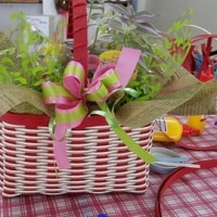 母の日の花カゴ作り