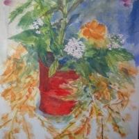 花々(F4)水彩