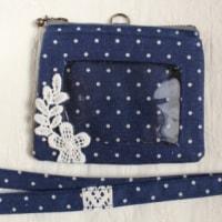 カードホルダー・紺水玉&お花のモチーフレース