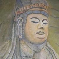 「祈り」(磨崖仏の魅力)油彩Fー50号