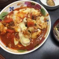 鶏肉トマト煮 ブラウンマシュ豆モヤシ味噌汁
