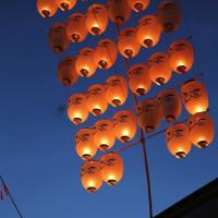 日吉八幡神社で七夕祭が 奉納竿燈も 快晴の天気のもと