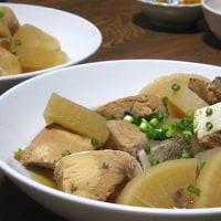 夕飯◆ぶり大根、かぼちゃの煮物、あさり味噌汁