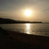 青島に沈む夕日です
