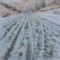 絵「雪の峠越え」(完)
