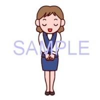 女性・立ちポーズ3/販売員/販売・ビジネスのイラスト